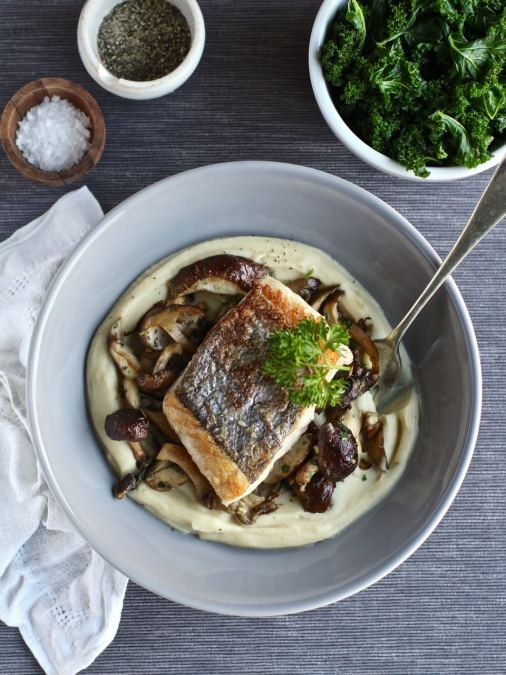 Celeriac Butter Bean Puree with Wild Mushrooms & Pan-Fried Hake