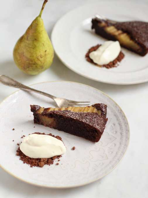 Chocolate and Pear Almond Tart with Chocolate Soil and Crème Fraîche