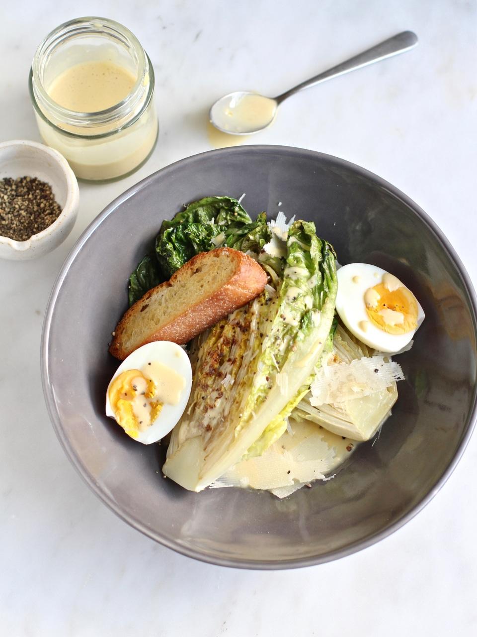Griddled Gem Lettuce with lemony Caesar dressing giant crouton and shaved Parmesan | Natural Kitchen Adventures