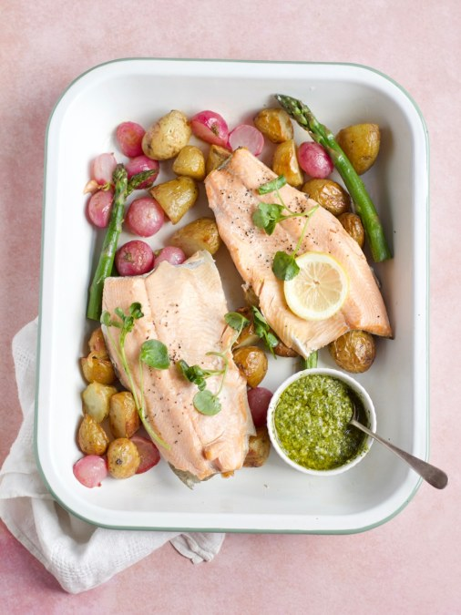 Trout Tray Bake with New Potatoes, Radish and Watercress Pesto