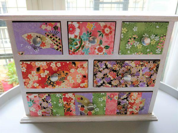 Boîte à bijoux 6 tiroirs papier japonais