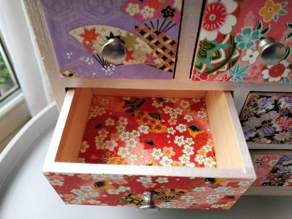 Boîte à bijoux 6 tiroirs papier japonais 2