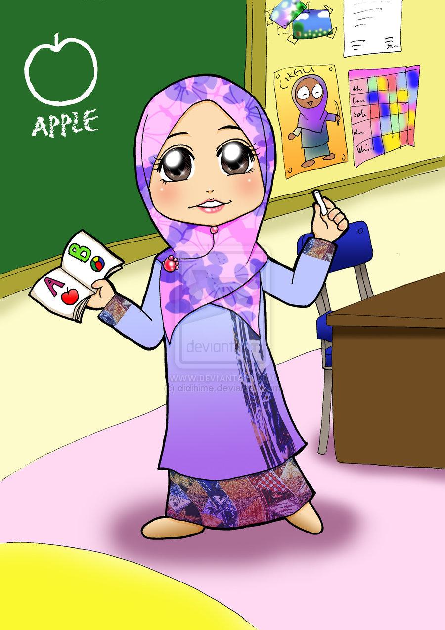 Gambar Profesi Guru Kartun : gambar, profesi, kartun, Gambar, Kartun, Muslimah