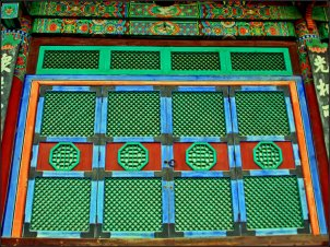 A folding door in a temple in South Korea