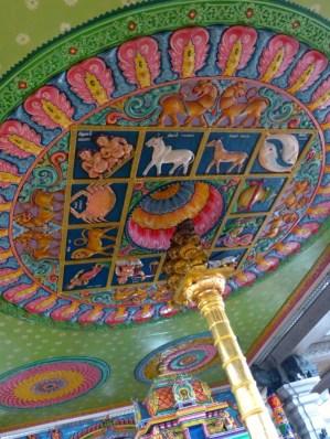Beautiful carvings on the roof of Shri Srinivasa Perumal Temple