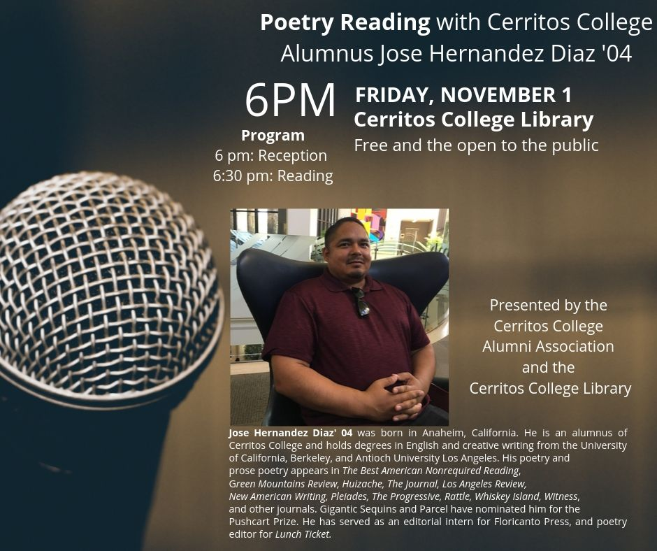 Poetry Reading with Jose Hernandez Diaz '04 @ Cerritos College Main Library | Norwalk | California | United States