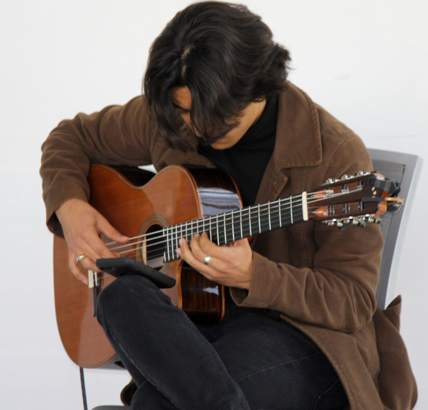 Student George Loulakis playing jazz guitar