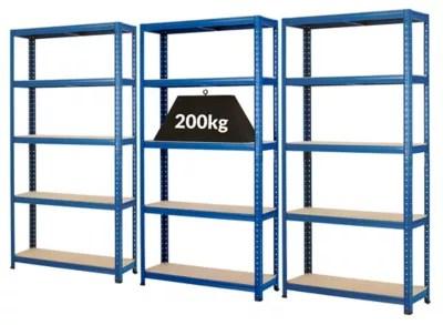 mega deal 3x rayonnages pour charges lourdes profondeur 30 cm 200 kg par etagere