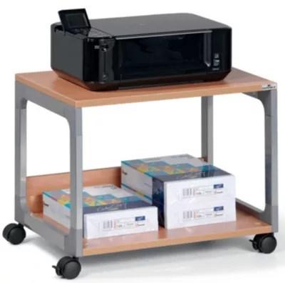table pour imprimante et de rangement passe partout de durable 2 tablettes argent hetre