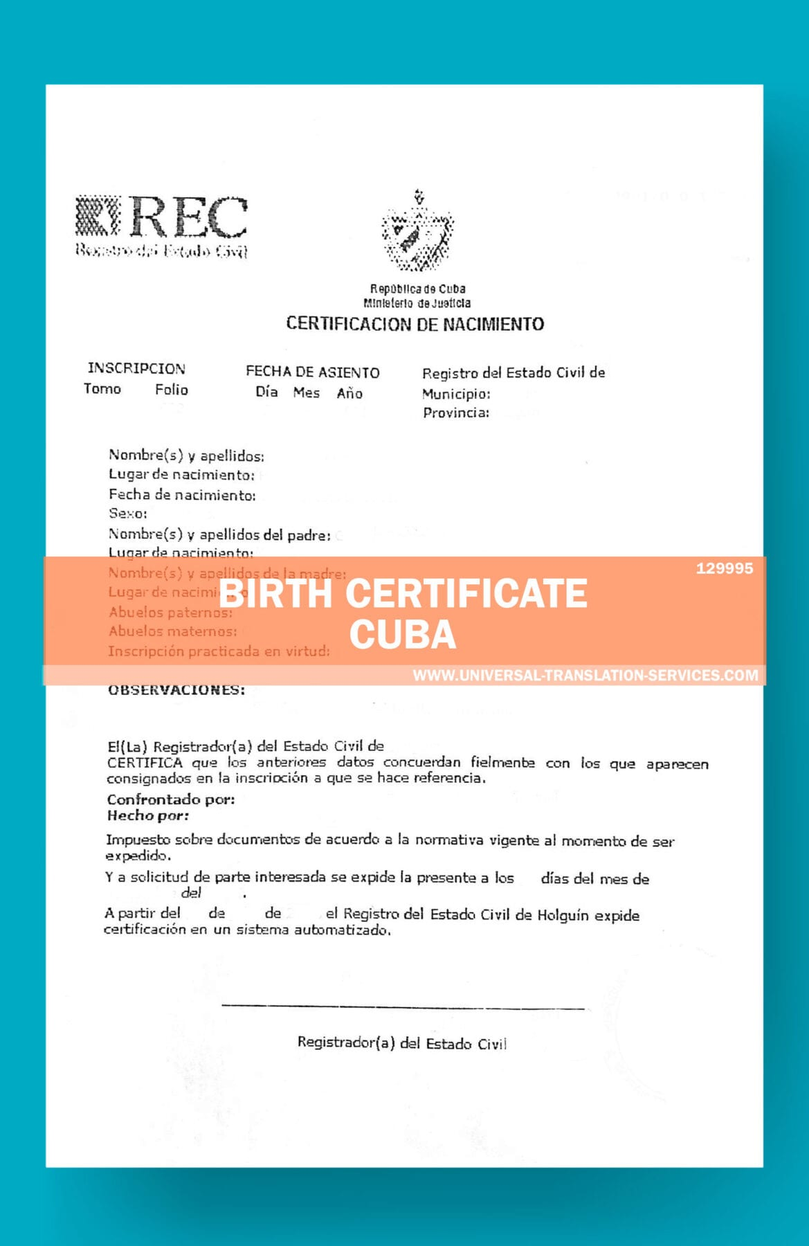 Spanish Birth Certificate Translation Template For Cuba 15