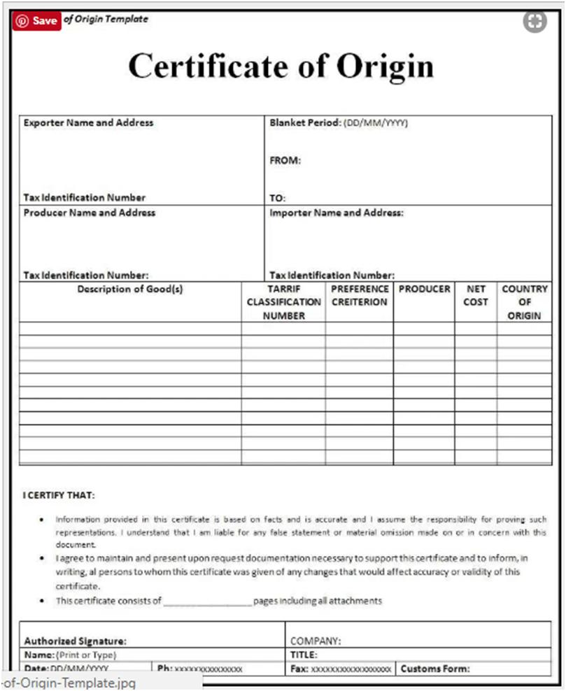 Certificate Of Origin Template Form