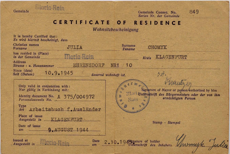 Certificate Of Residence Uk