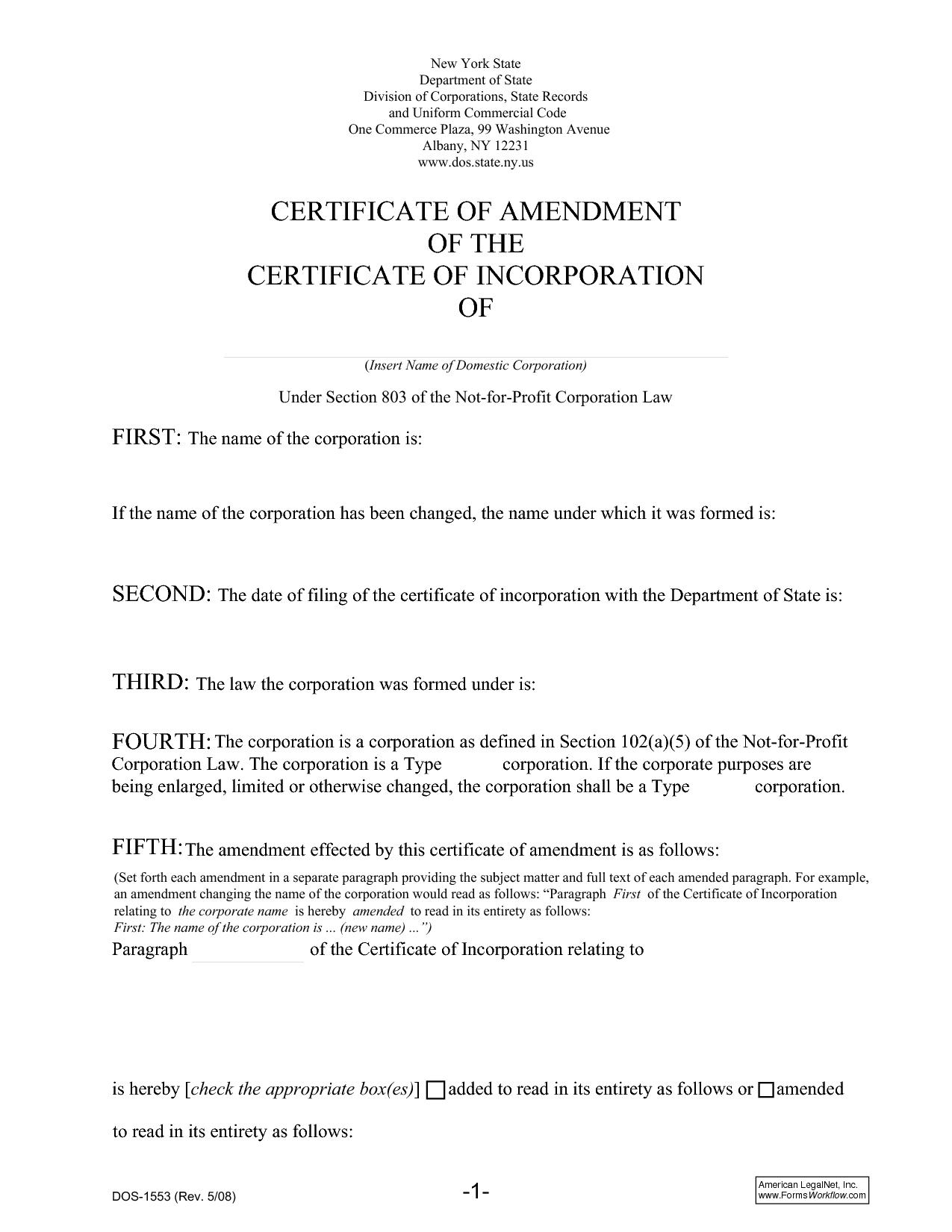 Certificate Of Amendment Sample