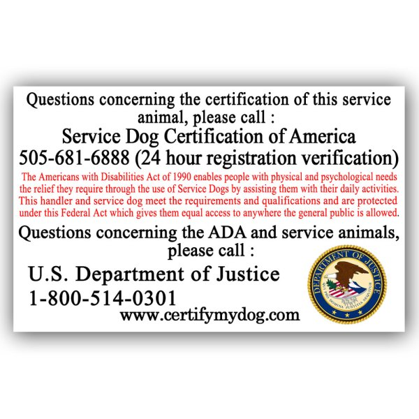Service Dog ID Card Reverse