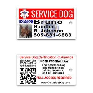 3 mini service dog id cards . perfect for keychain, collar, vest etc.