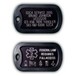 Personalized engraved service dog tag containing your service dog's name, handlers phone number, our 24/7 hotline and registration information. Reverse side includes Nationally recognized service dog emblem. This tag is Military style with a rubber silencer. Includes 3″ & 20″ chains for your choice of utilization.