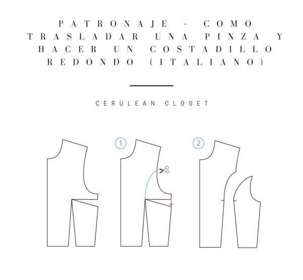 Cómo trasladar una pinza y hacer un costadillo redondo (italiano)