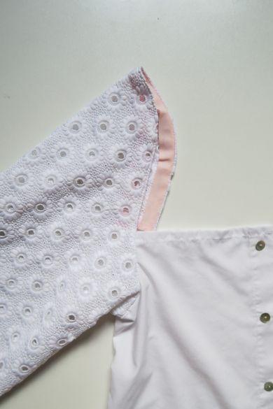 Tutorial reciclaje ropa: DIY camisa manga abullonada, volviendo el bies hacia el interior de la manga