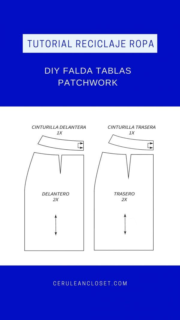 Tutorial reciclaje ropa: DIY falda tablas patchwork, patrones