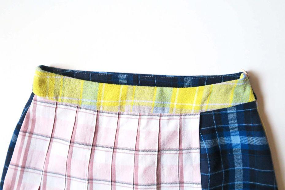 Tutorial reciclaje ropa: DIY falda tablas patchwork, cintura acabada