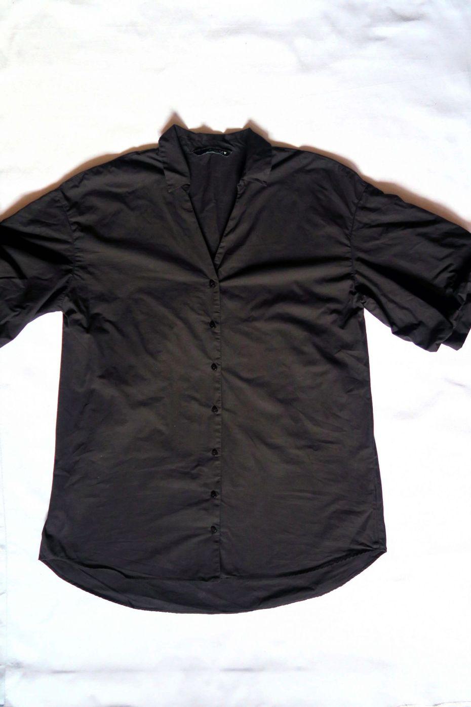 Tutorial reciclaje ropa: DIY vestido camisa ajustado, camisa sin modificar