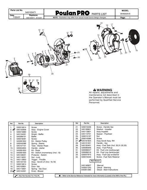 Poulan pro bvm200fe repair manual