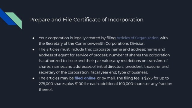 Corporation Formation in Massachusetts