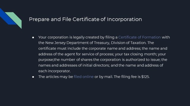 Corporation Formation in New Jersey 3