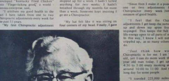 Quiropráctica en la historia de Colonel Sanders de KFC