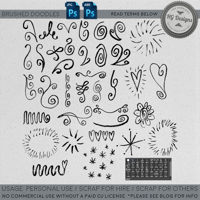freebie: brushed doodles photoshop brushes – HG Designs
