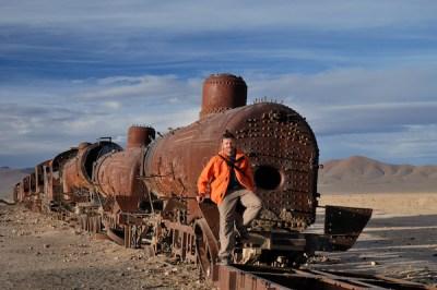 Honza na Hřbitově vlaků v Uyuni