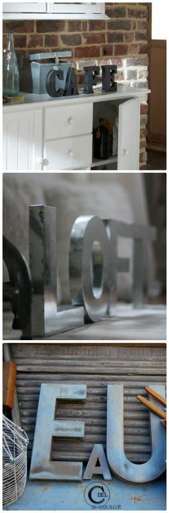 grandes lettres deco fer zinc