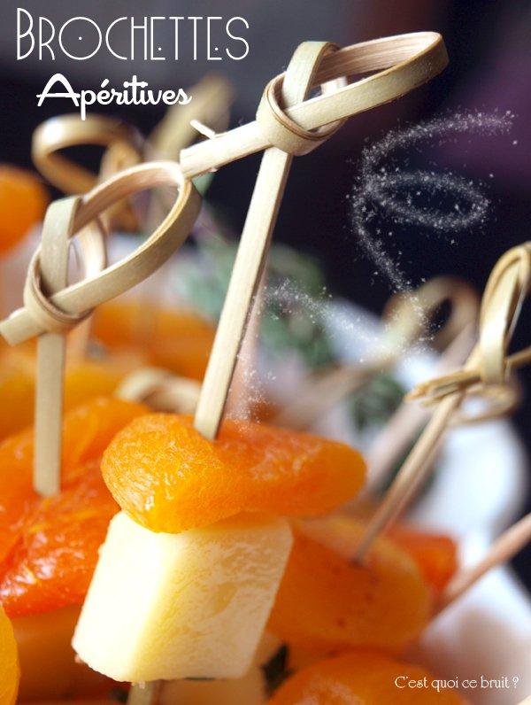 Brochettes apéro de fêtes : comté et abricot sec
