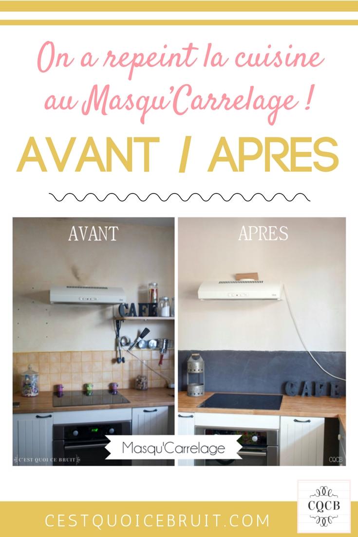 Avant après rénovation de la cuisine pour masquer le carrelage #cuisine #deco #décoration #rénovation #kitchen