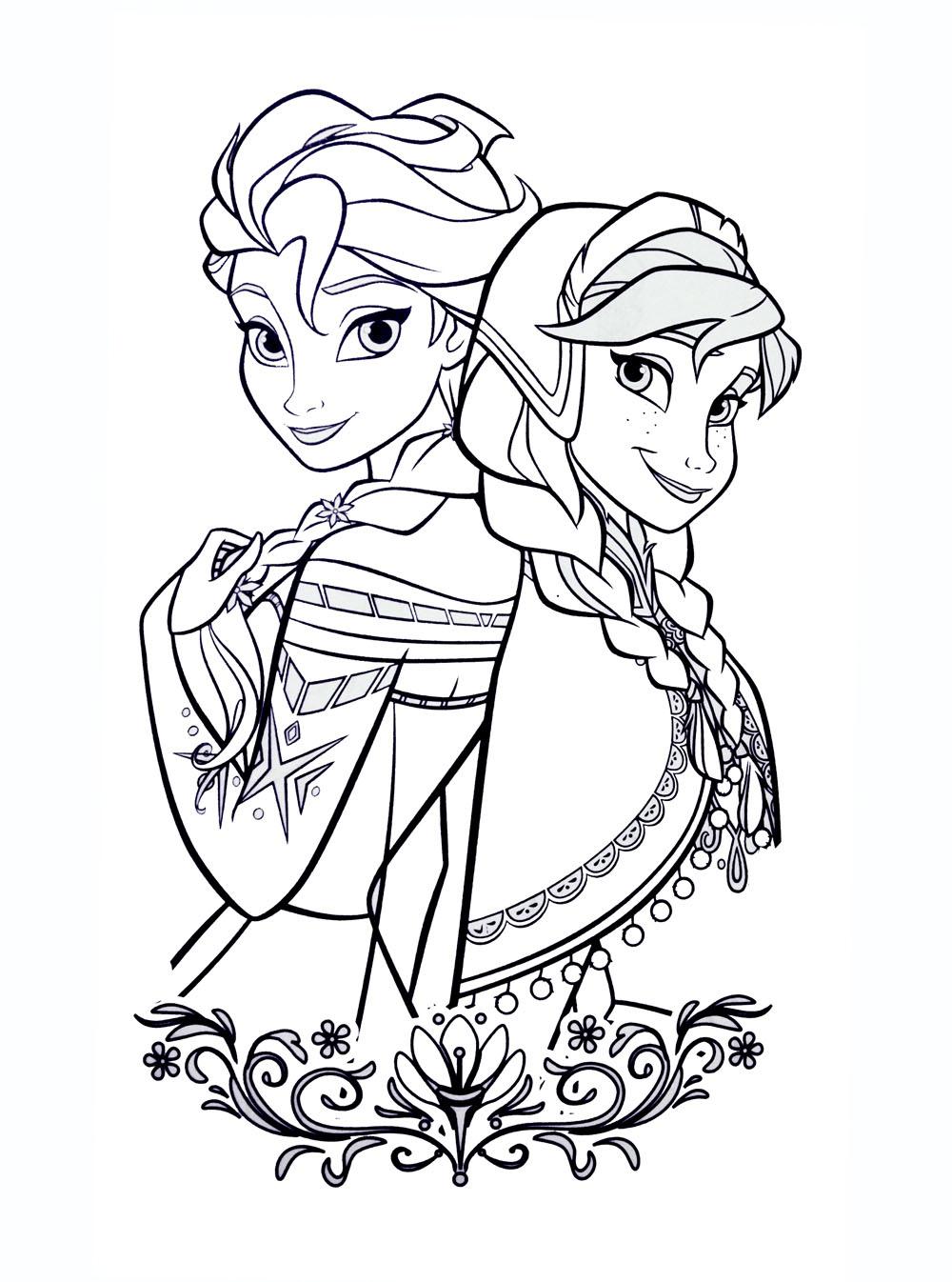 Coloriages la reine des neiges à imprimer : Anna et Elsa