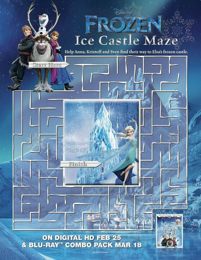 Activités La reine des neiges à imprimer : labyrinthe