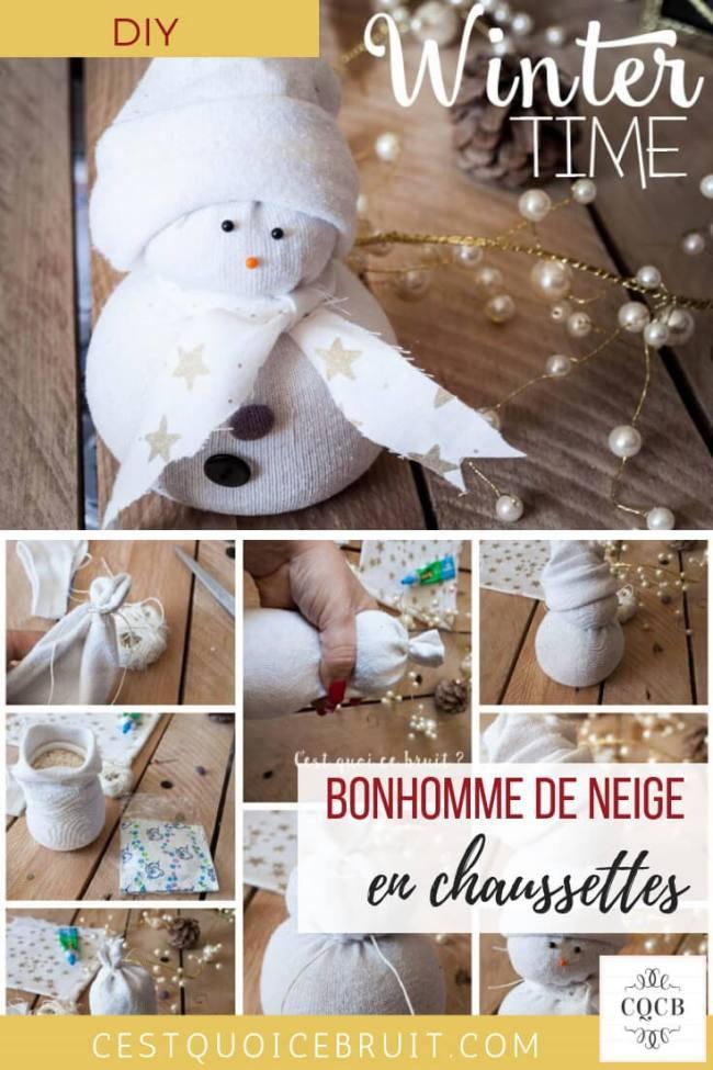 DIY Réaliser un bonhomme de neige en chaussettes avec les enfants pour les fêtes #DIY #tuto #bonhommedeneige #snowman #noel #kidsactivity