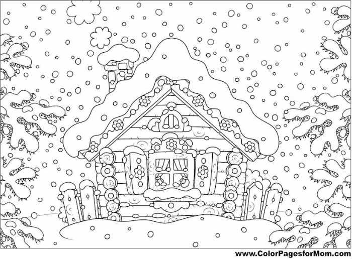 Coloriage Noël à imprimer gratuitement : chalet de Noël