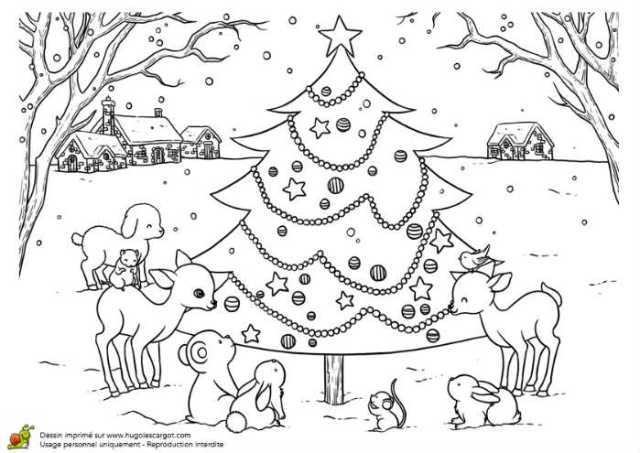 Coloriages de Noël à imprimer gratuitement : sapin et rennes