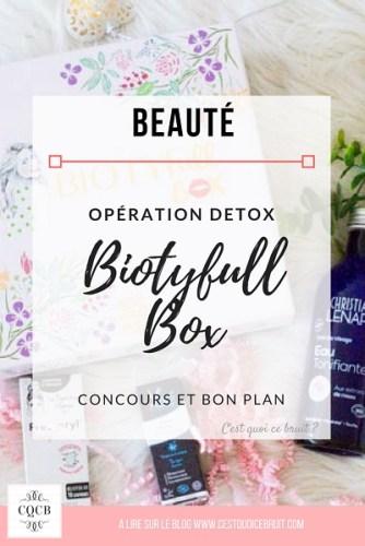 Découverte de la Biotyfull Bos de septembre sur le thème de la détox, une chouette box beauté à retrouver sur le blog C'est quoi ce bruit ?