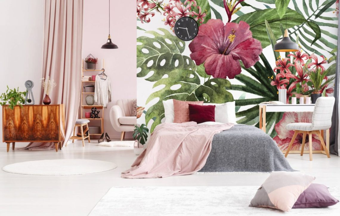 Décoration murale fleurs tropicales