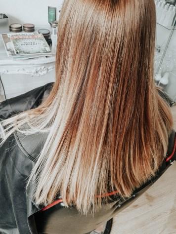 Ombre hair roux blond et caramel sur cheveux longs