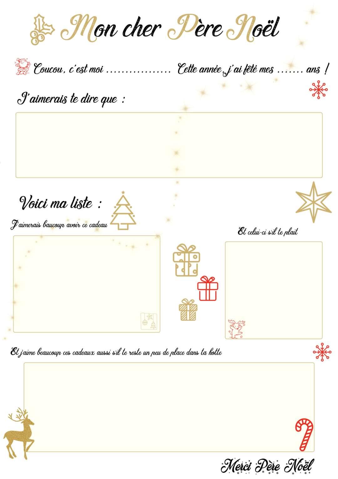 Lettre au Père Noël avec la liste des cadeaux des enfants à imprimer gratuitement #blogfamille #cadeaux #lettre #liste #perenoel #christmas