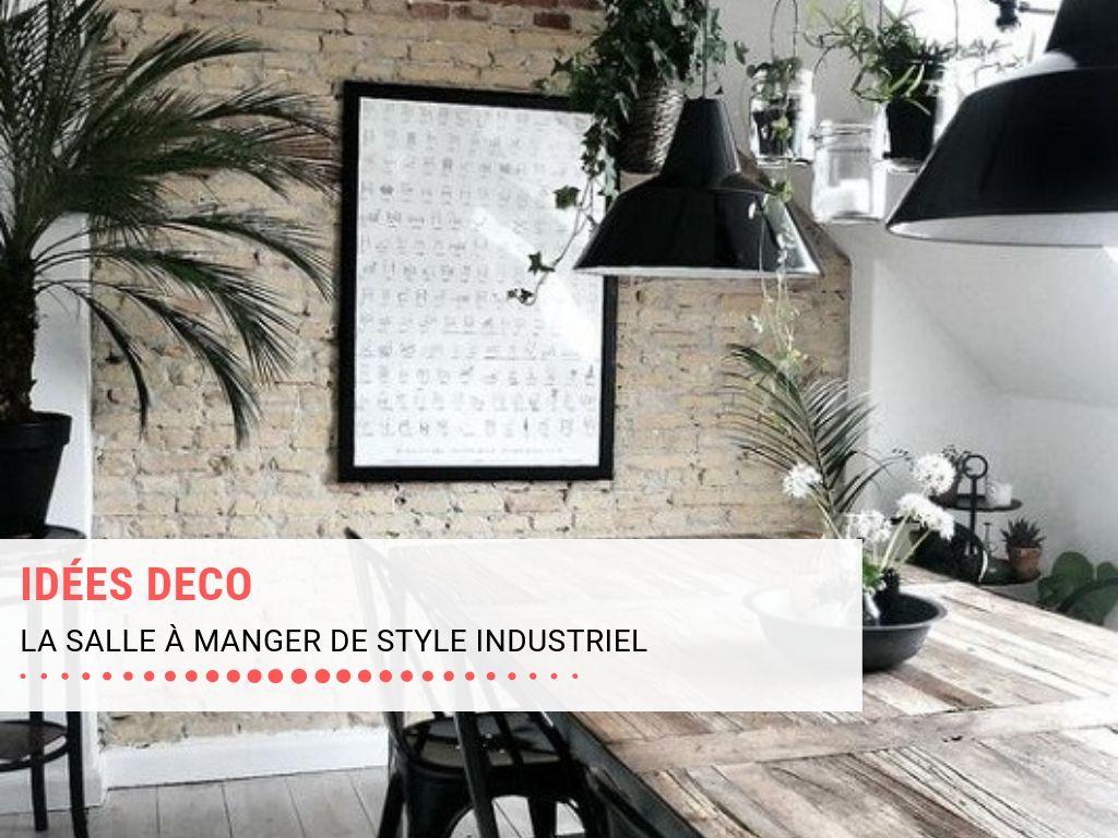 Idées déco pour une salle à manger de style industriel avec table en bois
