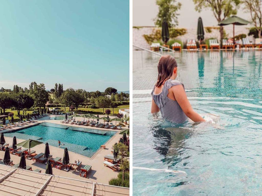 La piscine et le solarium de l'Hôtel Camiral pour chiller