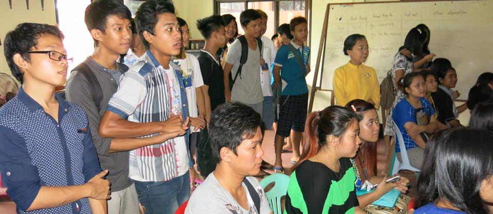 CEPC students watching with Daw Ma Ma Gyi