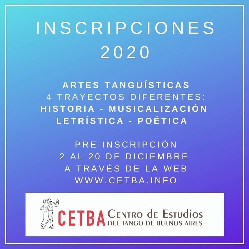 Pre Inscripciones 2020 – Artes Tanguísticas