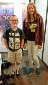 Julia and her host brother on the first day of school in America!