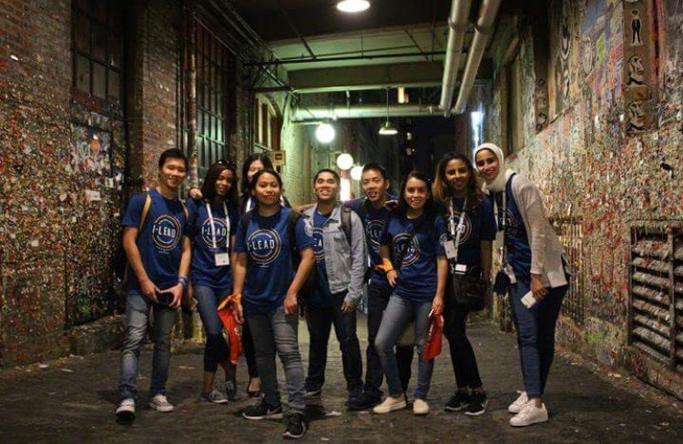 Shanyque and other I-LEAD attendees at Seattle's famous 'Gum Wall'