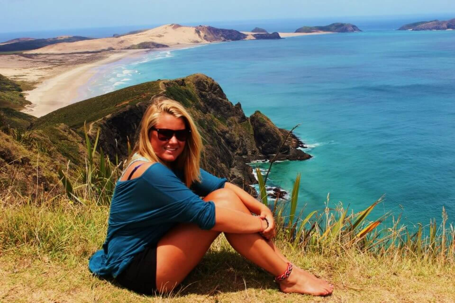australia Exchange student on a beach in New Zealand